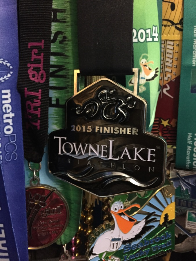 2015 Towne Lake Tri in Cypress Texas medal zoom