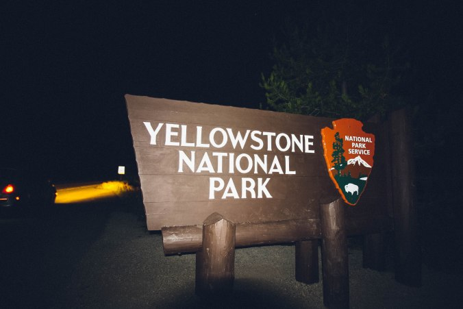 Late night arrival in Yellowstone National Park