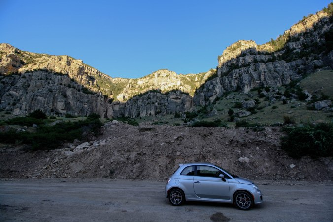 Fiat climbing mountains through Wyoming