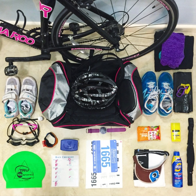 Gear ready for 2015 Towne Lake Tri in Cypress Texas
