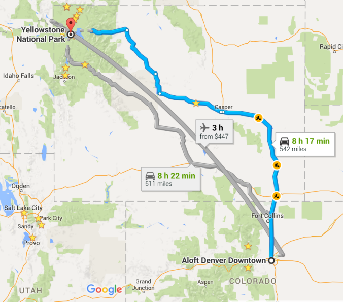 Google map route from Denver to Wyoming
