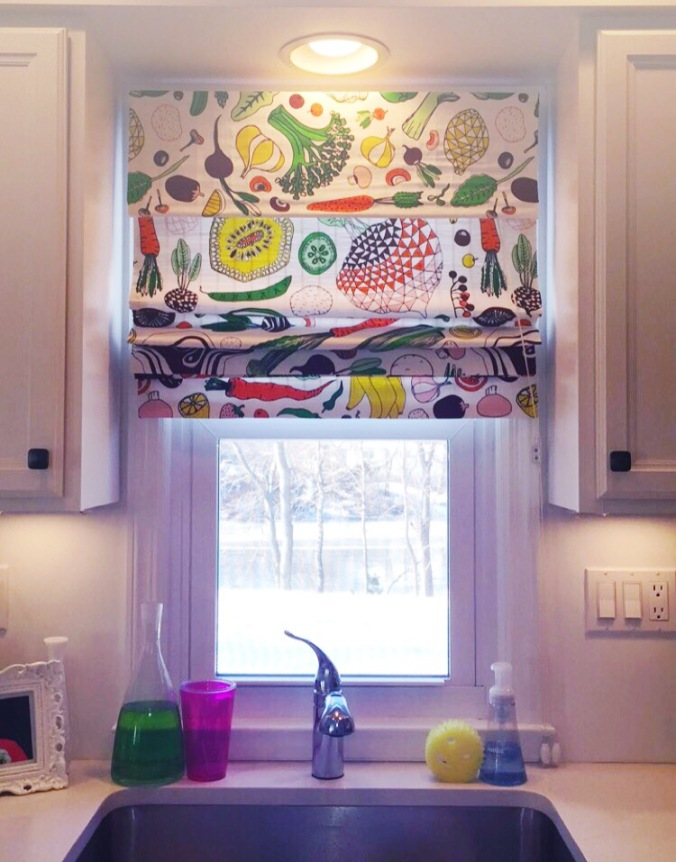 bamboo blind makeover to roman shades diy 1