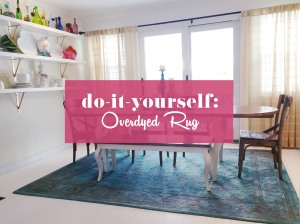 DIY Overdyed Rug Tutorial using fabric dye
