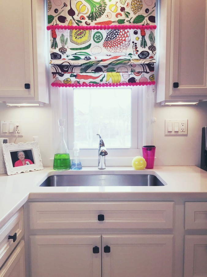 DIY roman shade in Tiny Kelsie's bright & kitschy kitchen