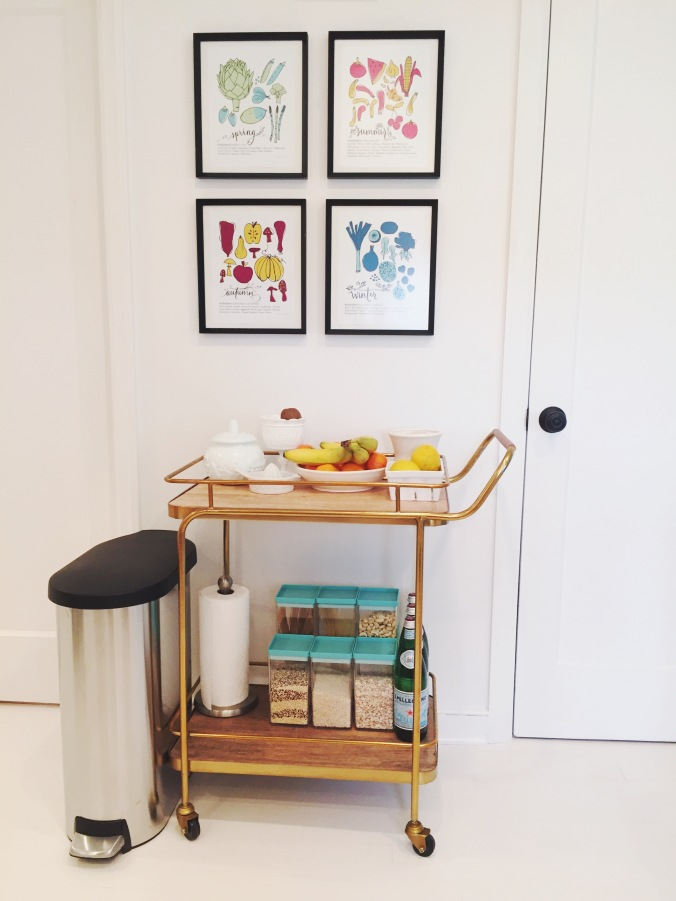 Pantry Bar Cart in Tiny Kelsie's bright & kitschy kitchen