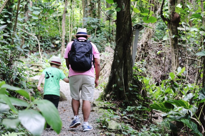 Father son hiking in El Yunque Rainforest in Puerto Rico