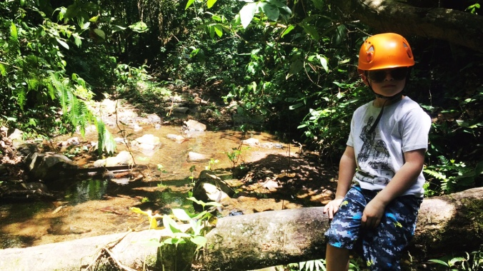 seven year old on ziplining adventure tour in Puerto Rico