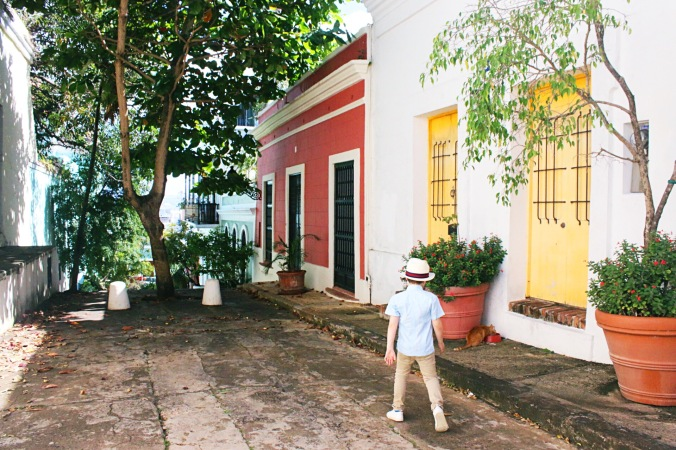 Traveling and exploring the colorful streets of Old San Juan, Puerto Rico with kids