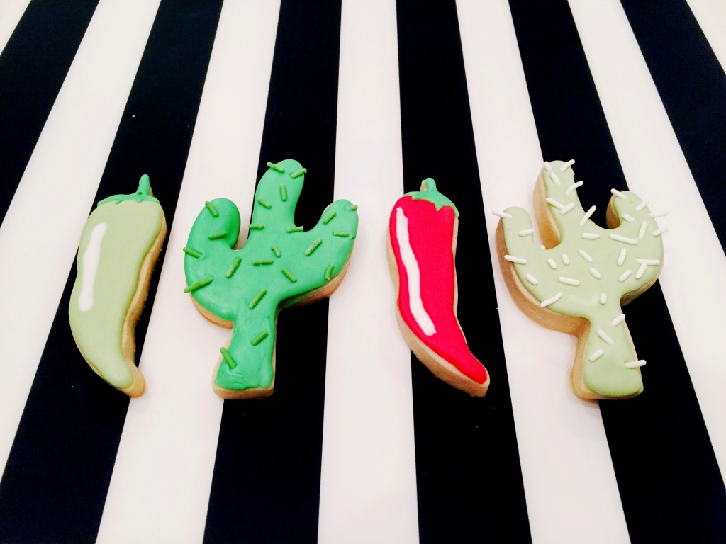 Cinco de Mayo cactus and chili sugar cookies with royal icing