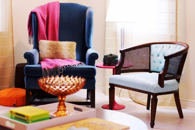 painted upholstered chair in colorful living room