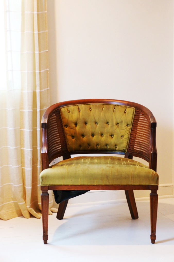 Stained upholstered chair to pe painted with acrylic textile medium
