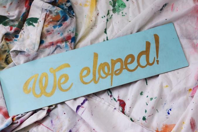 We eloped sign mid century theme