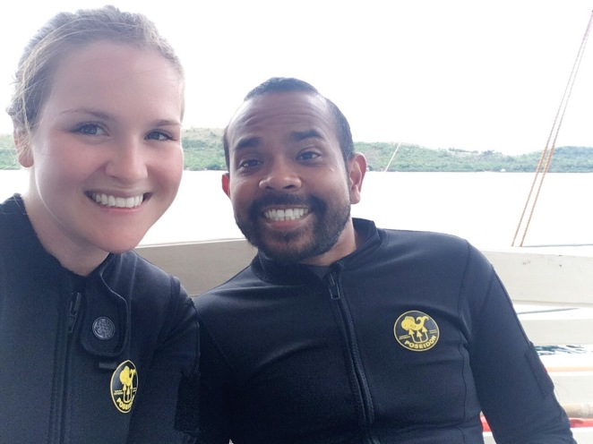 Mark and Kelsie O in scuba suits