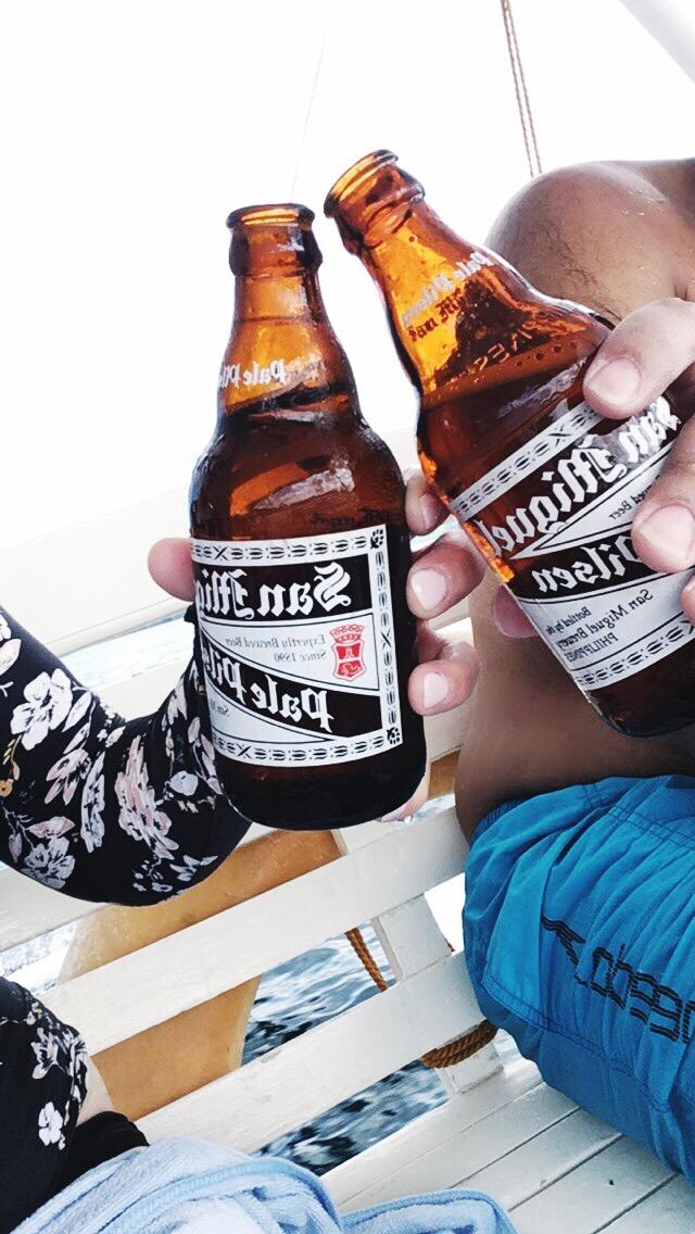 Post-dive San Miguel beer in Coron Philippines