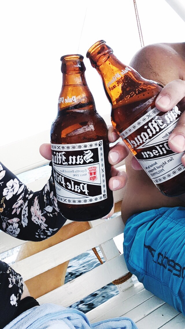 Post-dive San Miguel beer in Coron Philippines