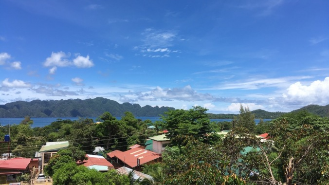 View of Coron Bay from Blue Wave hotel in Coron Philippines
