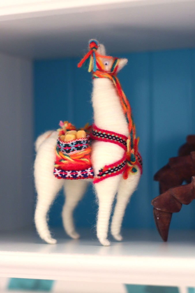 peru inspired bathroom alpaca