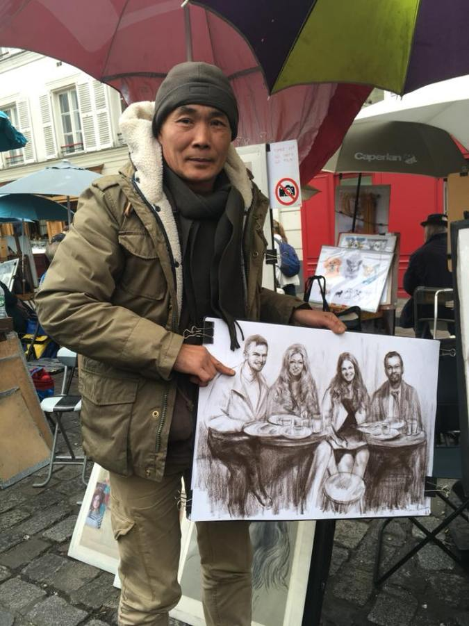 Montmartre Artists square group portrait art cafe
