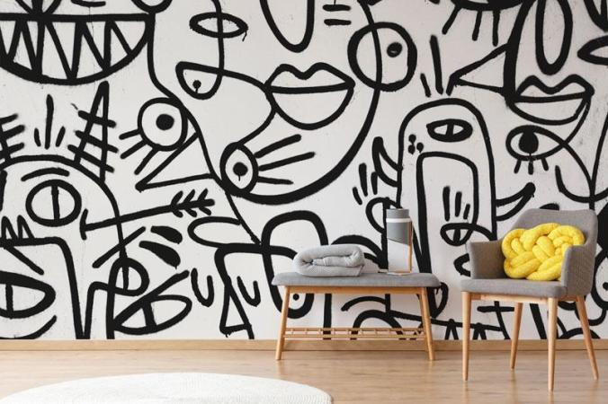 abstract-faces-painting-mural-black white artistic