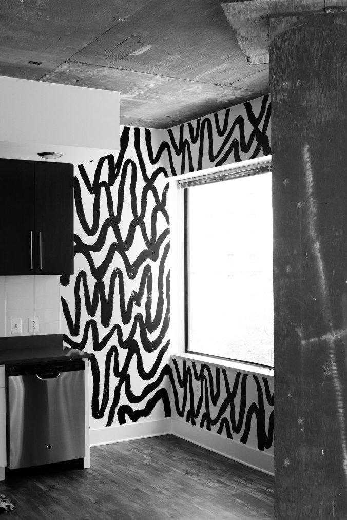 black and white brushstroke mural wall megbiram