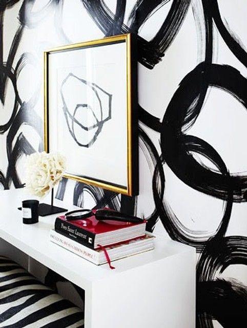 black graphic brushstroke circle mural wallpaper