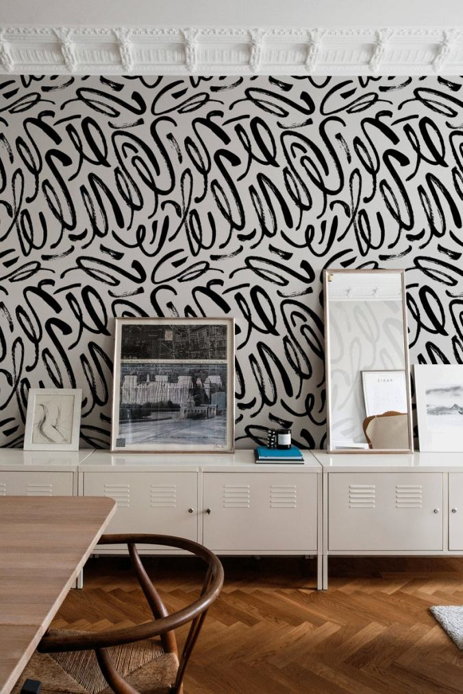 graphic black and white handpainted squiggle mural wallpaper