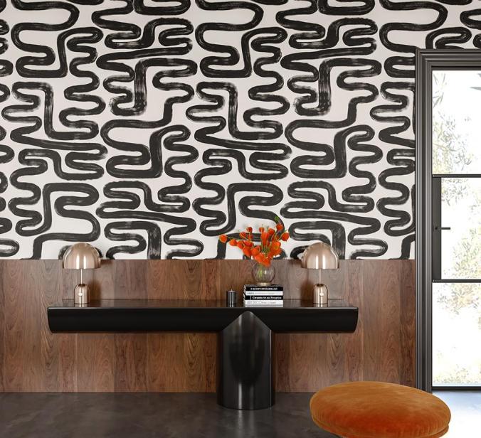 black white brushstroke wallpaper lines