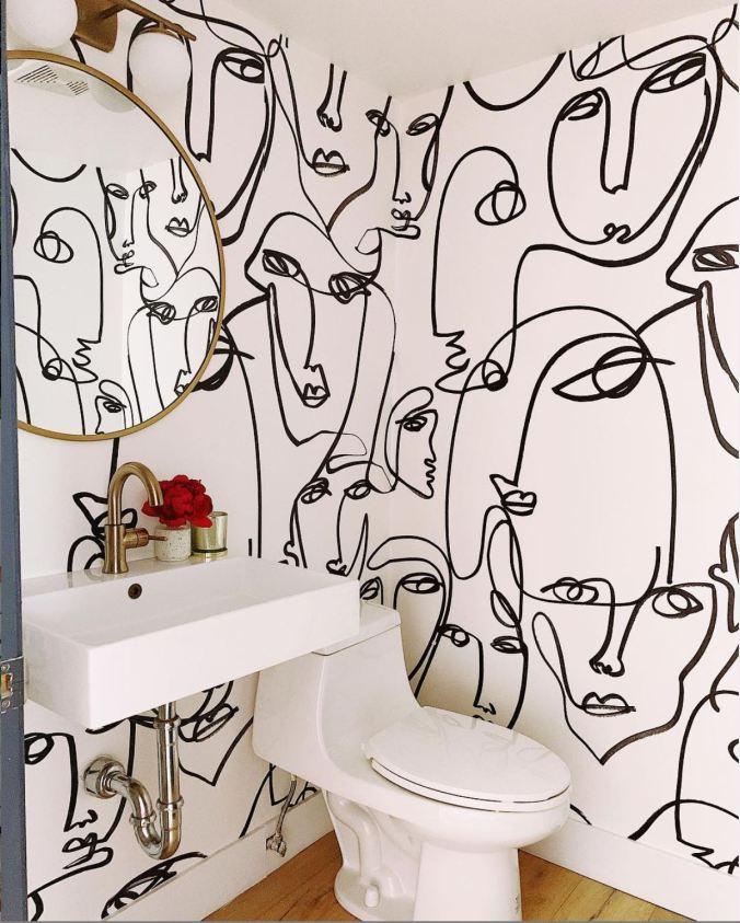 black white hnd drawn faces wallpaper bexmarie