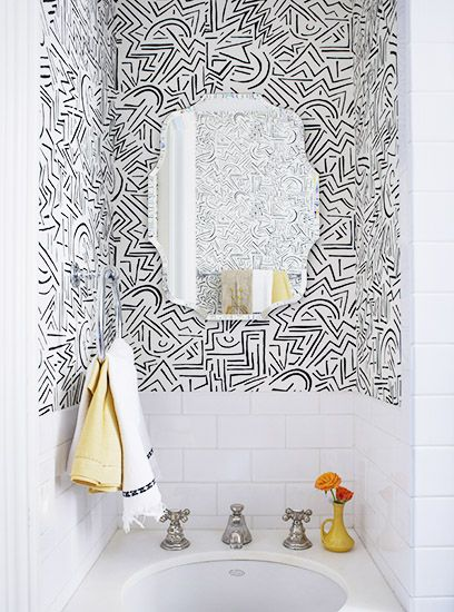 black white squiggle handpainted style wallpaper