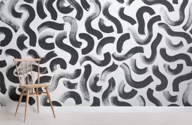 murals wallpaper black brushtroke white wall